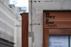 The Cheap Side Of The Church (MykReeve) Tags: wood london church sign wall wooden name noticeboard teamb cityoflondon cheapside stmarylebow target11 lfsh281006
