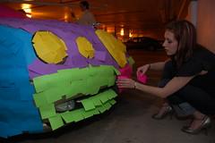 The Post-It Note Jaguar: License Plate. (Scott Ableman) Tags: car topv111 topv2222 topv555 topv333 automobile colorful parkinggarage topv1111 topv999 postit topv777 jaguar bling psychedelic postits topv3333 jokers licenceplate stickynotes officeprank stype joksters practicaljokers practicaljoker