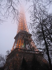 Eiffel tower in fog