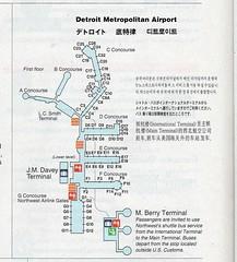 Northwest DTW diagram, 1997 (airbus777) Tags: northwestairlines detroitmetropolitan dtw airportmap 1997