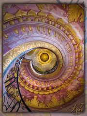 Spiral Stairwell, Melk (Koko Nut, it's all about the frame) Tags: steps stairs spiral colour colours patterns gold purple up melk austria abbey cruise 2016 danube frame koko kokonut wonder