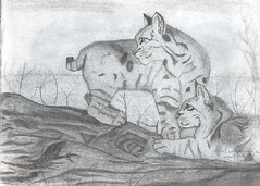 bobcats_by_adreeh (Mechwing) Tags: bobcat link orange pencil drawing traditional art sketch black white gray grey two cats feline cat felines lion nature wild trunk tree arid companion double dry