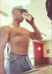 shirtless burger (ddman_70) Tags: shirtless pecs abs muscle fastfood restaurant jeans