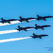 6 Blue Angels Trailing Smoke in the Blue Sky