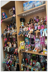 Tag game: Show us your shelves! (GreenWorldMiniatures) Tags: barbie monsterhigh mh shibajuku