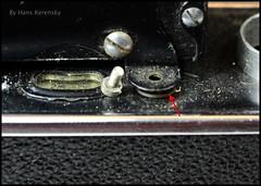 Certo Dollina II Repair Notes (12) (Hans Kerensky) Tags: certo dollina ii rangefinder folder repair removed screw foot