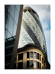 Morning in the City (Dave Fieldhouse Photography) Tags: morning sunlight sunrise london city cityscape offices buildings architecture glass gherkin stmarysaxe modernarchitecture modern photo24london photography fuji fujifilm fujixpro2 portrait daytime summer mirrorless street streetphotography reflections stone