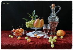 The Rhythm of the Weekend (Esther Spektor - Thanks for 12+millions views..) Tags: stilllife naturemorte bodegon naturezamorta stilleben naturamorta composition creativephotography summer weekend tabletop fruit pear cherry grape wine cluster decanter goblet bowl stand doily glass tablecloth ambientlight reflection white yellow green red orange black estherspektor canon