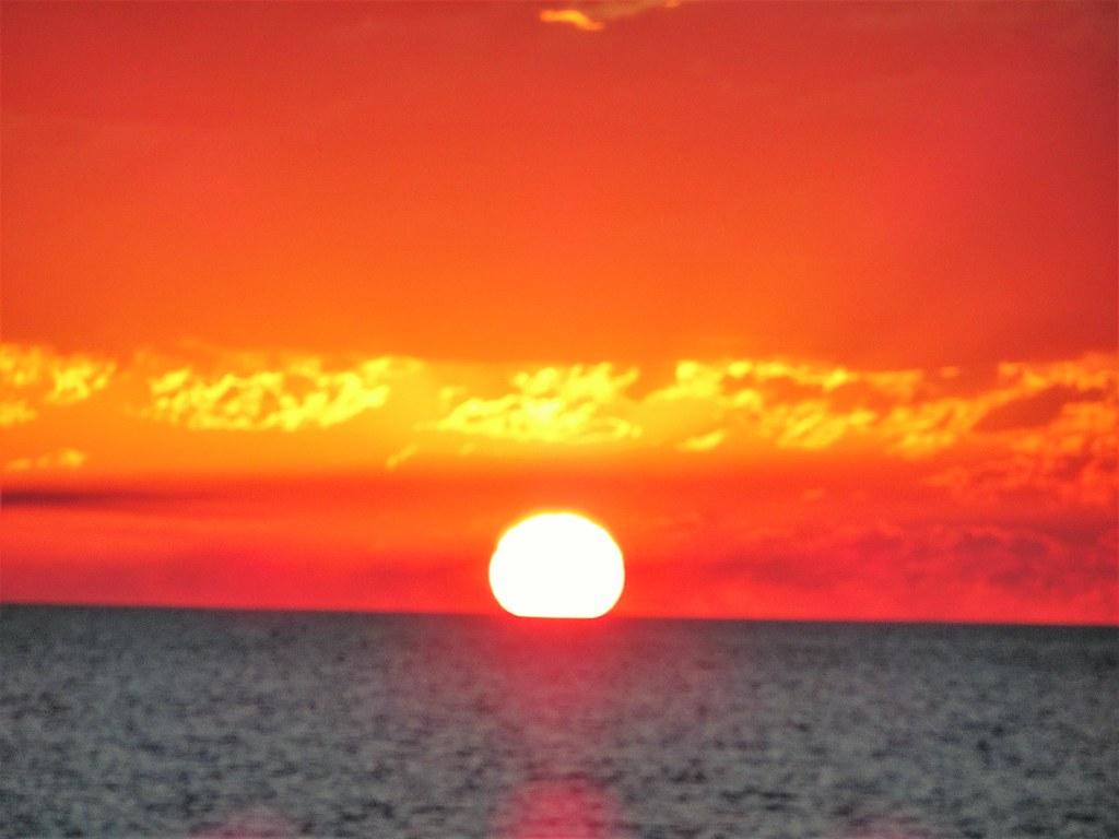 Hervey Bay. Sunset near Urangan marina and Fraser Island.