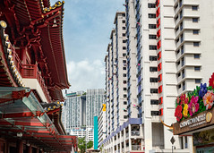 Chinatown Juxtaposition (claustral) Tags: 2018 singapore chinatown contrast temple apartments buildings buddhatoothrelictemple red