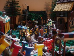 Merchant's Row (jgg3210) Tags: lego castle classiccastle knights kingdomofwillowstone stillmoss peasants bandits forest river fortress kings road pathways landscaping trees moc minifigures animals