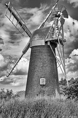 Turf Fen Mill (hype57) Tags: windmill mill water norfolk broads blackandwhite bw monochrome marshes reeds cloads sky building