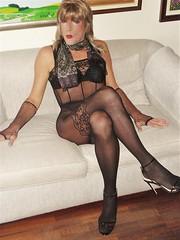 Karen (Karen Maris) Tags: tg tgirl tgurl karen legs bodystocking fishnets tranny trannie transvestite transsexual transgender blonde sandals heels crossdress crossdresser pantyhose tights