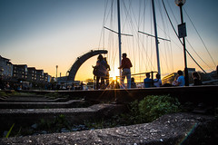 Wapping Wharf, Bristol, UK (KSAG Photography) Tags: harbour crane wharf railway city urban sun sunset sky boat yacht people bristol uk england unitedkingdom britain europe nikon april 2018 street streetphotography hdr evening