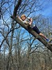 Out on a limb (Pejasar) Tags: iphone oklahoma tulsa turkeymountain urbanwilderness trees sky diagonal boy climb limb tree grandson