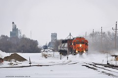Drift Buster - Sidney, MT (MinnKota Railfan) Tags: rail railroad train locomotive loco local bnsf burlington northern santa fe sidney montana snow drift busting elevator grain