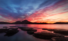 You are the Sunset of my Life (SkyeWeasel) Tags: scotland skye sunset broadford broadfordbay seascape landscape sky mountains beinnnacaillich longexposure