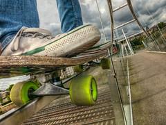 Bridge Rail Grind (D-W-J-S) Tags: flickr longboard selfie portrait self canon hdr bw mono skateboard ollie grind
