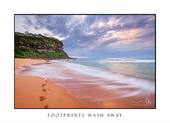 Waves wash on the seashore washing away footprints (sugarbellaleah) Tags: australia awesome breathtaking environment getaway holiday landscape nature outdoors picturesque seascape thisisaustralia tourism travel vacation views weather bunganbeach beach leisure recreation wonderful water flowing headland cliffs coast coastal serene ocean tide tidal footprints sand sandy seashore seaside