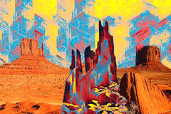 Desert Guardians 1 (lisaleo2) Tags: southwest desert guardian spirits nativeamerican indian navajo blanket monumentvalley arizona rocks stump red yellow blue guarding protecting digitalcollage spiritual mittens myth legend fantasy spirituality filter topaz folklore