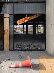 The Upstairs Cafe Without Stairs (Steve Taylor (Photography)) Tags: cafe takeaway coffee architecture sign demolition cone roadcone trafficcone stairs staircase yellow red orange up newzealand nz southisland canterbury christchurch cbd city perspective