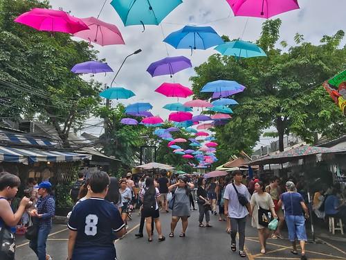 Umbrellas in the sky in Chatuchak weekend market in Bangkok, Thailand