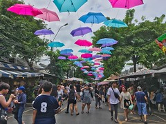 Umbrellas in the sky in Chatuchak weekend market in Bangkok, Thailand (UweBKK (α 77 on )) Tags: umbrellas sky decoration people chatuchak jatujak weekend market shop shopping street road trees green bangkok thailand southeast asia iphone