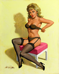Putting on a Bra by Arthur Sarnoff, 1993 (gameraboy) Tags: painting art illustration vintage arthursarnoff puttingonabra 1990s pinup pinupart lingerie garterbelt stockings thighhighs 1993