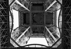 The Eiffel from the bottom. (natureflower) Tags: bottom eiffel tower architecture structure france bw monochrome