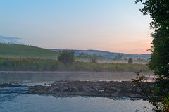 Morning's  Breath (scottprice16) Tags: england lancashire clitheroe brungerleypark river riverribble ribblevalley morning july summer 2018 dawn sunrise colour sky clouds mist water rocks trees fields outdorrs walking leisure activity hills leica leicaxvario