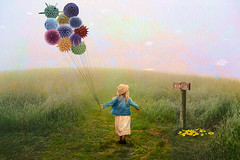 You Are Here (Alan McRae) Tags: texture photoshop surreal humor girl balloons pollen field pasture uncertainty