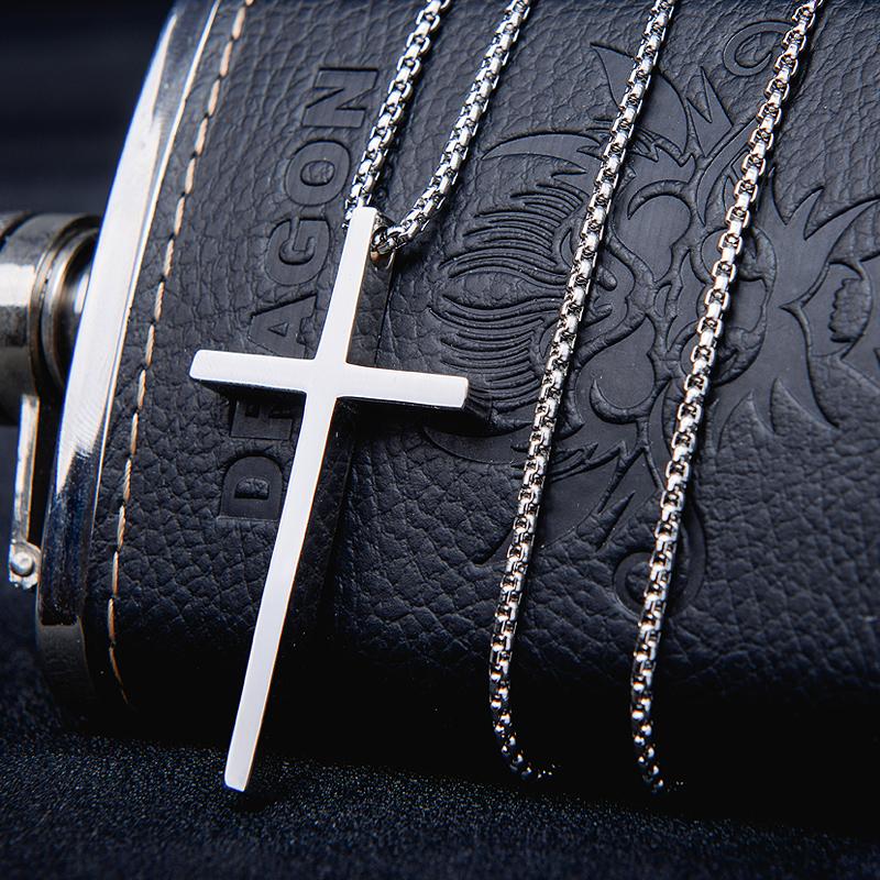Free lettering cross necklace, men's titanium steel, European and American couple student boom female Pendant Jesus Christian Jewelry