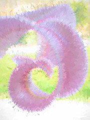 Unfurling the Pink (Steve Taylor (Photography)) Tags: digitalart green pink white flower petals lily distorted curve texture curl curly splatter