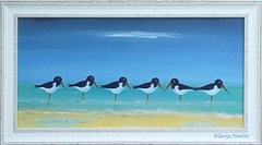 Acrylic Oystercatchers2 (g crawford) Tags: oystercatchers bird birds seabird seabirds shore sand wave seashore beach crawford acrylic paint painting art
