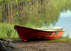 The red boat... (irio.jyske) Tags: boat lake pond water reflection colors forest trees naturephoto naturepictures nature naturephotograph naturescape naturepic naturephotos naturepics natural naturephotographer photograph photographer photos pics landscapes landscapephotographer landscapephotos lakescape landscapepics lanscape landscapephotograph landscape landscapepic nice beauty beautiful