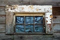 In Need of TLC (Katrina Wright) Tags: dsc1455 window paint flakes peeling dirt debris decay rotten hww windowwednesday wood texture line pattern hook plastic