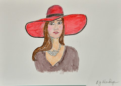 The Girl With the Hat - with Watercolor (BKHagar *Kim*) Tags: bkhagar art artwork artday sketch pencil drawing watercolor watercolour lady hat red portrait