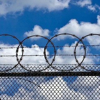 #nyc #bronx #wakefield #chainlinkfence #razorwire #barbedwire #bluesky #whiteclouds