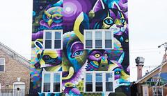 - Untitled - (Jacqueline ter Haar) Tags: mural streetartist iameelco streetart chicagotruborngallery geometric patterns animalfaces facade westtown chicago damen truborngallery