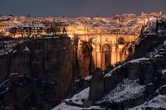 Tajo de Ronda Nevado (E. de Juan) Tags: ronda tajo puente nieve nevado bridge snow sunset malaga andalucia invierno