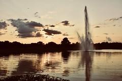 Evening sun with fountain (stevelamb007) Tags: illinois chicagobotanicgarden stevelamb sunset pond reflection