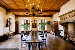 Vianden - Castle - Dining room (Robert GLOD (Bob)) Tags: architecture armoire buffet building castle chair chandelier construction fireplace flooring fort fortification fortress furniture interior lustre parquet sideboard storage stronghold table wardrobe vianden luxembourg lu