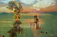 Forsaken (Milla DelRay) Tags: sea moon clouds reflection chair loneliness solitude sl secondlife nature landscape waterscape