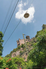 The View Above (pni) Tags: cloud burgkatz castle neukatzenelnbogen katzenelnbogen sky lamp fence tree leaf cable wire altstadt stgoarshausen ger18 germany deutschland pekkanikrus skrubu pni this
