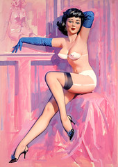 Slinky Blue Sleeves by Bill Medcalf (gameraboy) Tags: billmedcalf painting art illustration woman pinup pinupart slinkybluesleeves lingerie stockings thighhighs heels williammedcalf vintage