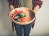 Young woman with salad bowl - Credit to https://www.thehousewire.com/ (TheHouseWire) Tags: black bowl carrot delicious diet food gherkin green health healthy holding olive parsnip pickle red salad vegetables woman young