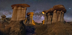 To Walk a Pale Land (Wayne Pinkston) Tags: badlands newmexico southwest hoodoos panorama night sky nightsky nightlandscape nightphotography nightscape waynepinkston waynepinkstonphotpcom lightcrafter com star stars starrynight starrysky milkyway galaxy cosmos astrophotography landscapeastrophotography widefieldastrophotography nikon wideangle