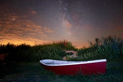 Lifeboat at East Point Lighthouse (Douglas Heusser Photography) Tags: east point lighthouse new jersey nj ocean beach bay milky way galaxy nautical scene night sky stars star cosmos band nightscape long exposure photography canon rokinon 14mm lens astrophotography astronomy heusser photo shore points landscape