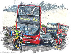 158 To The Mount Anyone? (M C Smith) Tags: sketch colour bus buses red route 158 pentax k3 motorcycle traffic cars white yellow black grey lines wall hivi houses green trees sky numbers letters symbols poster advertising