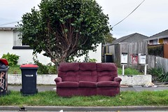 threedom (stephen trinder) Tags: stephentrinder stephentrinderphotography aotearoa godzone kiwi landscape christchurch christchurchnewzealand nz newzealand thecouchesofchristchurch sofa settee couch furniture dumped suite rubbish used unwanted trash kerb seating cushions replaced roadside recycling vacant bins house letterboxes flat flatting tree rubbishday